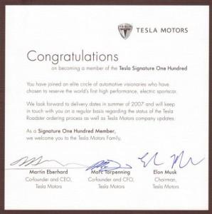 Il certificato n.100 dei possessori di Tesla