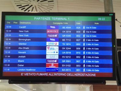 La partenza del volo da malpensa