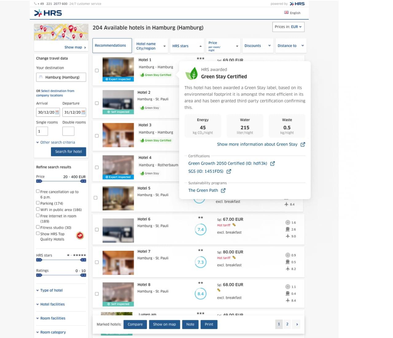 HRS lancia il database di hotel ecosostenibili